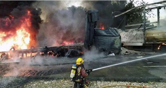 The fire following the N340 crash that claimed three lives on 7 September. Photo: Bombers