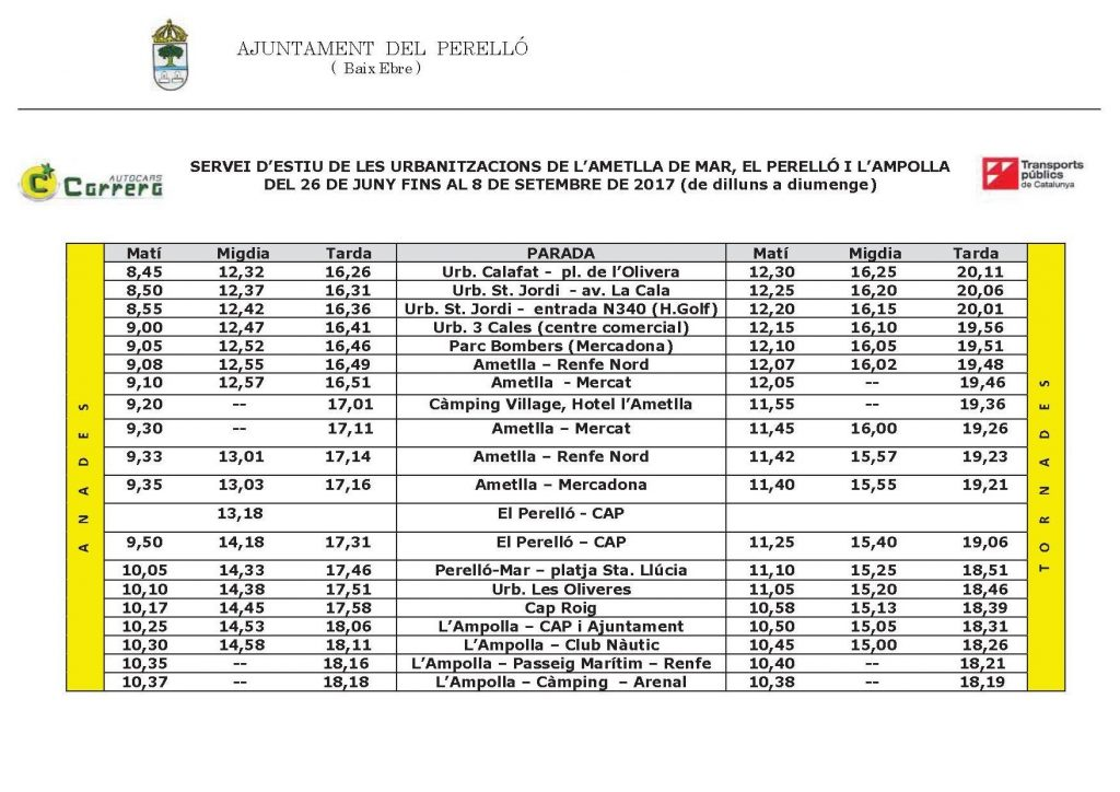 Summer bus service timetable between El Perello, L'Ampolla, L'Ametlla