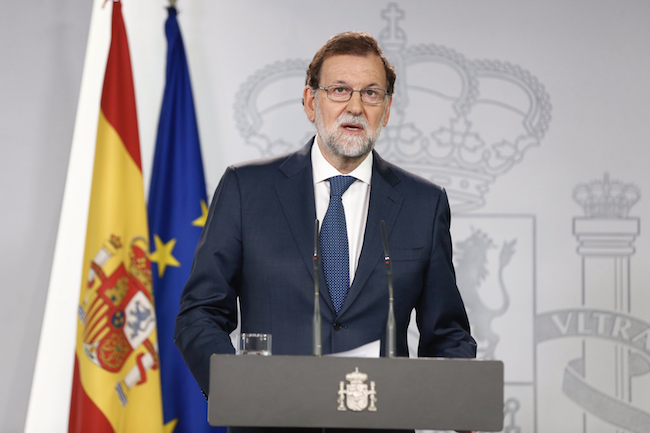 Spanish prime minister Mariano Rajoy speaks about the Catalan referendum